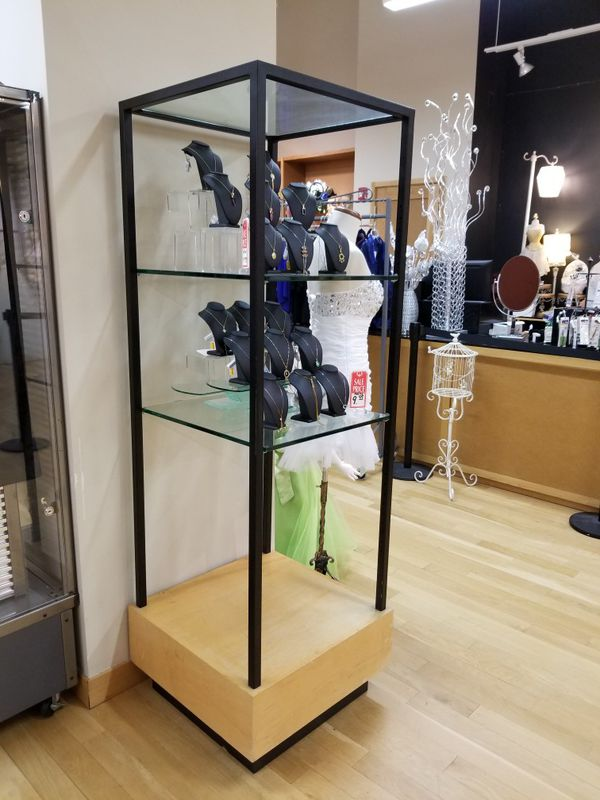 Beautiful glass wood metal display case shelves Like New