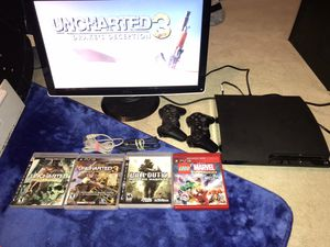Sony PS3, 2 Controllers, 4 Games, All Attachments, ( Monitor Option Available ) for Sale in Escondido, CA