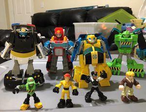 Lot bundle kids toys 8pcs TRANSFORMERS bumblebee optimus prime rescue bots boulder police car for Sale in Bonita, CA