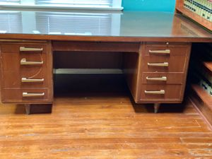 Antique office desk with glass top for Sale in Marksville, LA