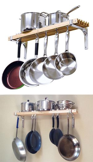 "New in box $30 Kitchen Wall Mounted Wooden Pot Rack 36x8"" Storage Shelf Hooks for Sale in Whittier, CA"