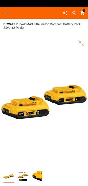 DEWALT 20-Volt MAX Lithium-Ion Compact Battery Pack 2.0Ah (2-Pack) for Sale in Dumfries, VA