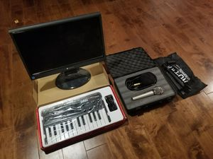Soundcloud kit - Microphone, mic stand, Akai MPK Mini, LCD Monitor for Sale in Campbell, CA