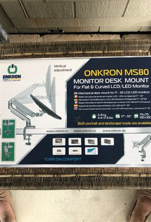 ONKRON Desk Mount Full Motion Arm for Computer Monitors 17 to 32-Inch LED LCD up to 17.6 lbs Silver (MS80) for Sale in Palmdale, CA