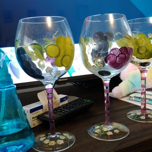 Hand Painted Wine Glasses Set Of 3 for Sale in Columbia, SC