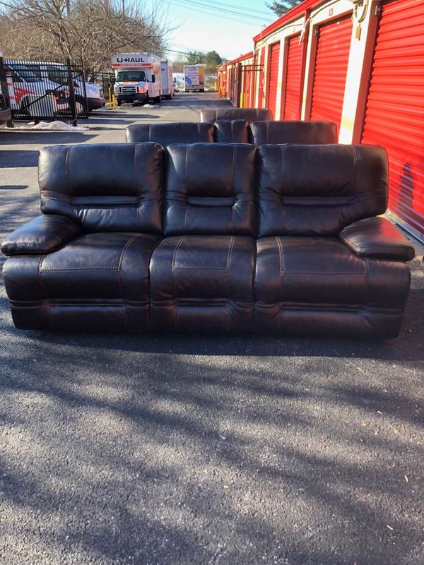 Real genuine Italian leather recliner sofa loveseat with cup holder and chair brown