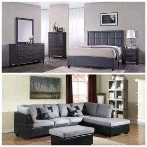 New package deal special!! Includes sectional couch with ottoman + queen size headboard/footboard/side rails/slats/dresser/mirror & nightstand $1099 for Sale in Richmond, VA