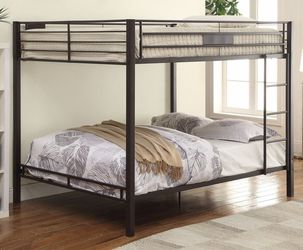 SAND BLACK FINISH METAL CONSTRUCTION INDUSTRIAL QUEEN OVER QUEEN SIZE BUNK BED FRAME - CAMA LITERA MATRIMONIAL for Sale in Downey,  CA