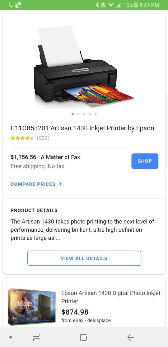 Epson artisan 1430 heat transfer sublimation printer for Sale in  Jacksonville, FL - OfferUp