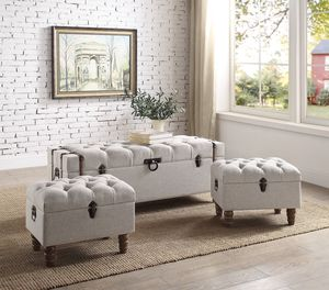 NEW IN THE BOX. MARK SACHI TAUPE 3PC STORAGE OTTOMAN SET, SKU# 4923SET-TAU for Sale in Santa Ana, CA