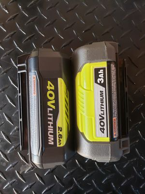RYOBI BATTERY 40VLITHIUM 3AH... 2AH ..70 for 2 battery for Sale in Riverside, CA