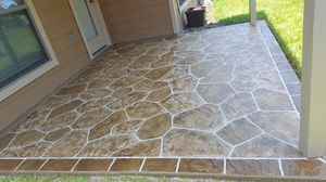 Decorative concrete power washing stamped overlays limestone spray deck epoxy finishes for Sale in Houston, TX