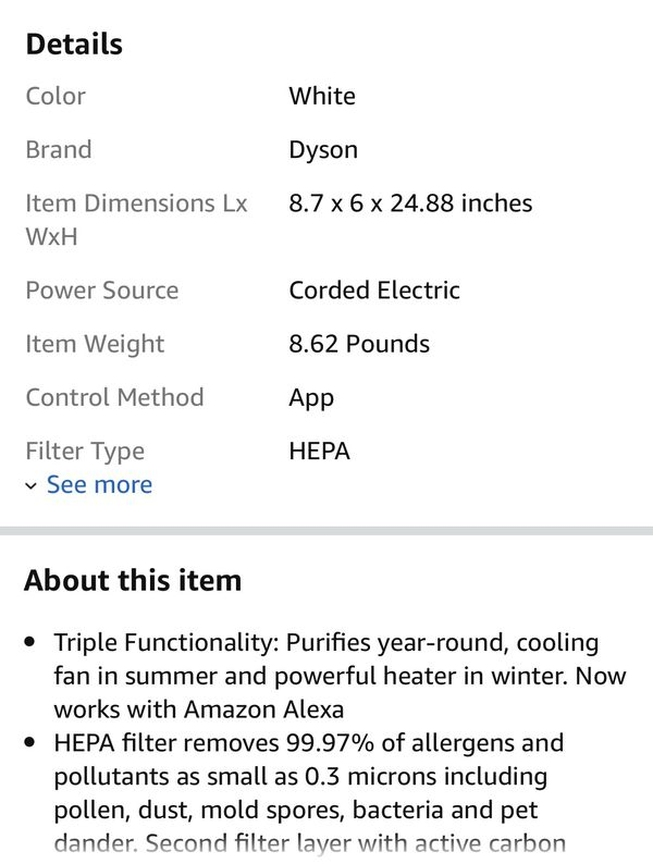 Dyson air purifier hot and cold link HP02