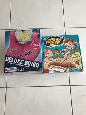 2 Board game Deluxe Bingo, Moustache Smash, . $10 for 2 games,could be sold separately. for Sale in North Miami Beach, FL