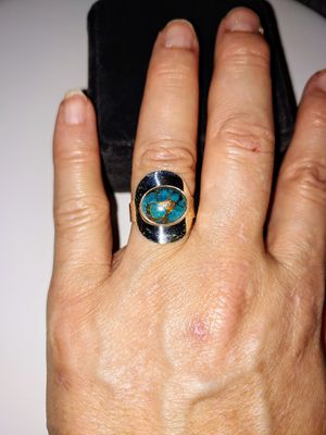 Beautiful Chunky Sterling Silver Band Genuine Turquoise Large Oval Cabochon Ring Size 8 for Sale in Lake Stevens, WA