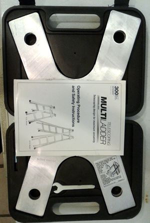 Telescoping multi ladder 300 lb extension pieces--- in box, with instructions & tools for Sale in Turlock, CA
