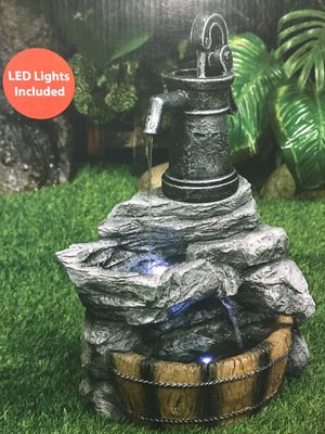 NEW IN BOX Rustic Garden LED Resin Fountain Pump Patio Backyard Home Decor Water Rust Resistant for Sale in Oceanside, CA