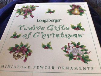 Longaberger Twelve Gifts of Christmas set of 12 ornaments - NEW for Sale in Woodbridge,  VA