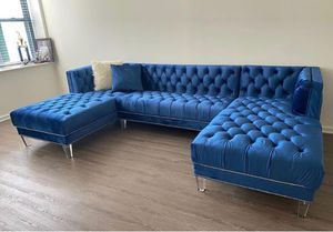 New Moda Velvet Navy Double Chaise Sectional & couch &'free delivery for Sale in Round Rock, TX