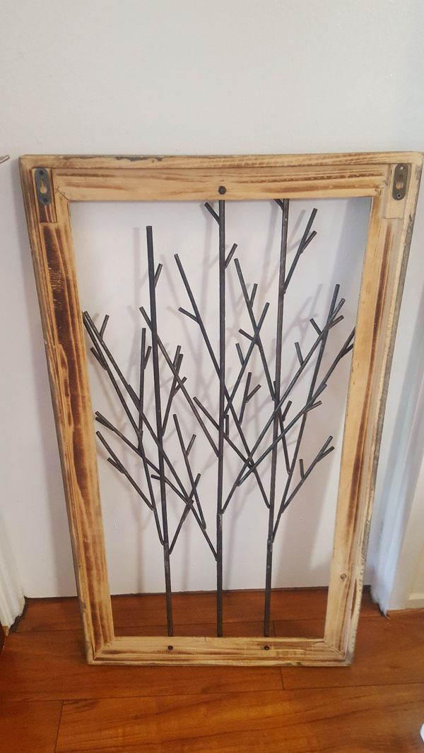 Wood and metal tree / twig wall art decor