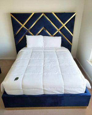 💲39 Down Payment 🍃Best Deal Vector Velvet Navy Queen Platform Bed for Sale in Laurel, MD