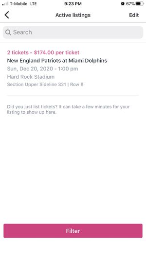 Patriots at Dolphins 12/20 1:00pm for Sale in Miami Gardens, FL