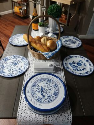 Set of 8 Restoration Hardware tin plates. New! Tracy's treasures for Sale in Houston, TX