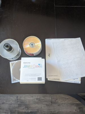 CD-Rs, jewel cases, labels and label maker presser for Sale in Las Vegas, NV
