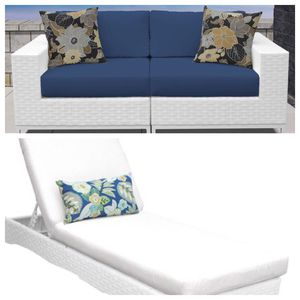 Brand new Miami navy blue cushion outdoor loveseat and single white cushion lounge recliner. Home furniture household general for Sale in National City, CA