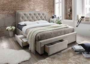 Brand New King Size Champagne Color Suede Upholstered Platform Bed w/4 Storage Drawers for Sale in Silver Spring, MD