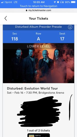 Disturbed concert tonight one ticket for Sale in Nashville, TN