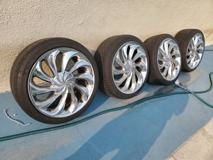 """17""""rims and tires good condition universal fits 4lug $450 for Sale in Cerritos, CA"""