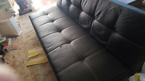 Black Faux Leather Foldable Futon for Sale in Los Angeles, CA