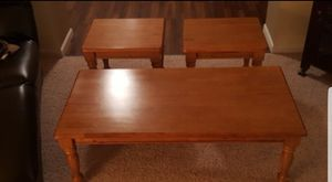 3 peice wood coffee table and side tables for Sale in St. Louis, MO
