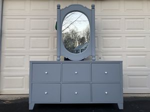 Lifestyle Solutions Solid Wood Long Dresser With Mirror Gray With White Handles Price is Firm for Sale in Lake Ridge, VA