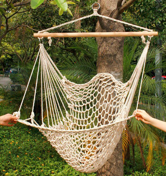 Hanging Hammock Outdoor Rope Chair Tree Swing Porch Backyard Lounge Seat