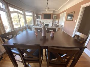 Wooden counter height table with 6 chairs for Sale in San Francisco, CA