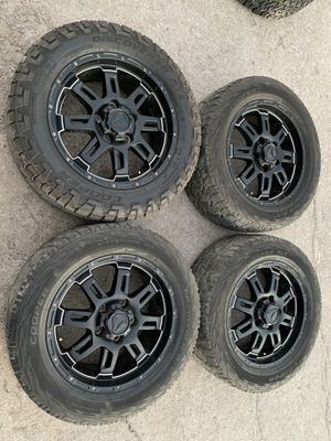 "20"" black TSS Rims and Copper all terrain tires 20 Toyota Tundra Wheels 20s Negros Rines y llantas 2007 tundra 2008 sequoia 2009 rines 2010 y 2011 ll for Sale in Dallas, TX"