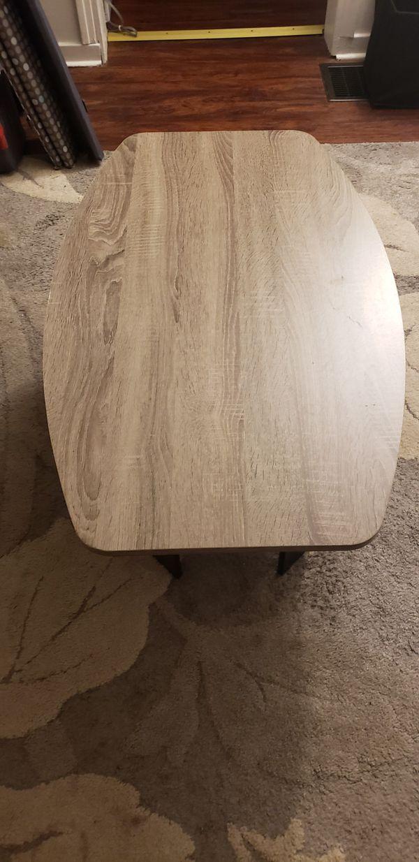 Furinno 11179GYW/BK Coffee Table, French Oak Grey/Black
