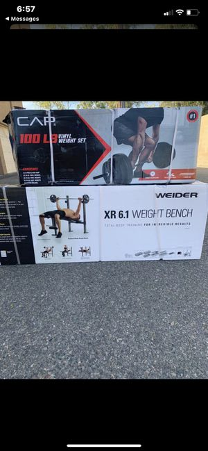 100 pound weightlifting set plus bench, for Sale in Lake Elsinore, CA