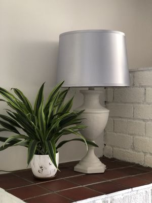 Gray lamp with silk shade for Sale in Riverside, CA