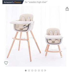 FUNNY SUPPLY 3-in-1 Convertible Wooden High Chair with Removable Tray and Adjustable Legs and Cushion - Cream Color for Sale in Windermere, FL