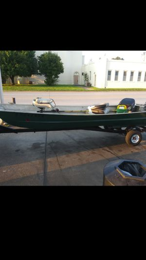 14' flat bottom boat with trailer and 9.9 Evinrude motor new tank and hoses all titles clear for Sale in Joplin, MO