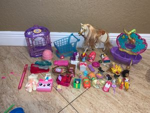 Girls toy lot shopkins Ariel bath tub Cinderella horse my little pony and more for Sale in Miami, FL