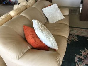 Off white leather couch. No stains or rips: good condition. Pet free home: approx 7 ft long and 42 inches deep. Make offer for Sale in Santa Cruz, CA