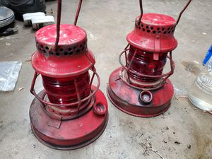 A Pair of Antique Handlan Railroad Lanterns for Sale in Lakewood, CA