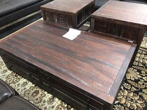 $350 USED in good condition antique style solid wood wooden coffee table 3 pc set it for Sale in El Monte, CA