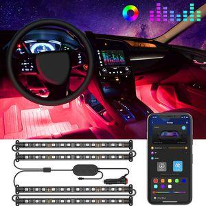 Interior Car LED Strip Light Upgrade Two-Line Design 4pcs 48 LED APP Controller Lighting Kits,Under Dash Car Lighting with Car Charger, DC 12V for Sale in Los Angeles, CA