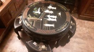 Nice rare antique Japanese black lacquer handmade coffee table with stools Pearl inlays this is rare asking 1300 1000 is my lowest for Sale in Houston, TX