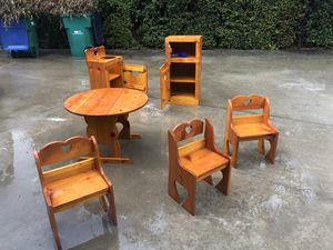 All custom wood child's kitchen and table with chairs for Sale in Santa Ana, CA